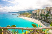 Tropea Town Colorful Stone Buildings On Top Of Cliff, Calabria, Italy