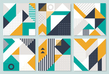 Set Of 6 Placard With Geometric Bauhaus Shapes. Retro Abstract Backgrounds. Vector Template For Covers, Voucher, Posters, Flyers And Banners.
