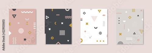 Set of 4 Placard with geometric bauhaus shapes Wallpaper Mural