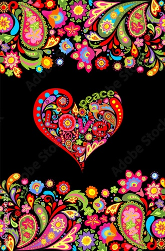Pinturas sobre lienzo  Hippie t shirt print with colorful flowers seamless border and floral heart shap