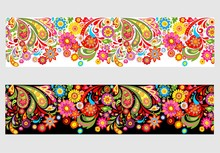 Seamless Summery Floral Border With Colorful Abstract Flowers