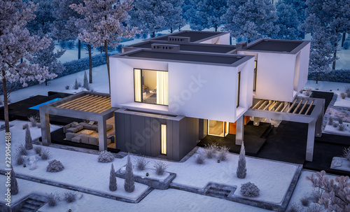 Foto op Canvas Drawn Street cafe 3d rendering of modern cozy house with garage and garden. Cool winter night with cozy warm light from windows. For sale or rent with beautiful white spruce on background