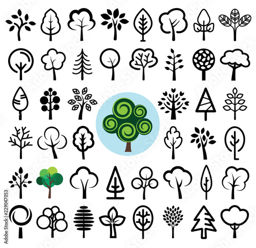 Set of tree icons. Vector illustration. Wall mural
