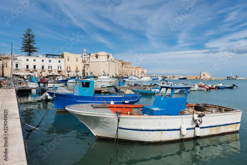 Plakat Łodzie rybackie w porcie Trani; Apulia; Włochy