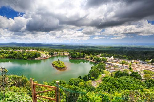 View from above at Grand bassin lake and Temple at Ganga Talao, Mauritius Wallpaper Mural