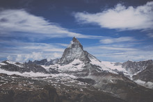 View Closeup Matterhorn Mountain, Scenes In National Park Zermatt, Switzerland, Europe. Summer Landscape, Sunshine Weather, Dramatic Blue Sky And Sunny Day. Print Poster, Image, Photo, Picture