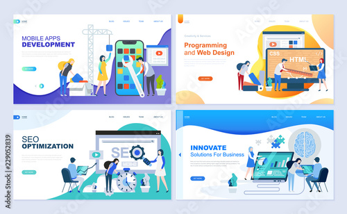 Canvastavla  Set of landing page template for web development, SEO, mobile apps, business solutions