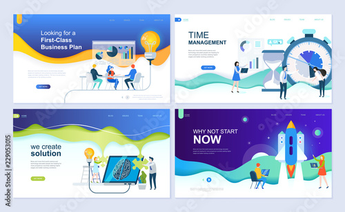 Set Of Landing Page Template For Business Solutions Startup Time Management Planning
