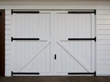 White Wooden Barn Doors With B...