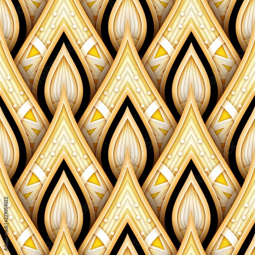 Fotografía Seamless Pattern with Gold and Black Ethnic Motifs