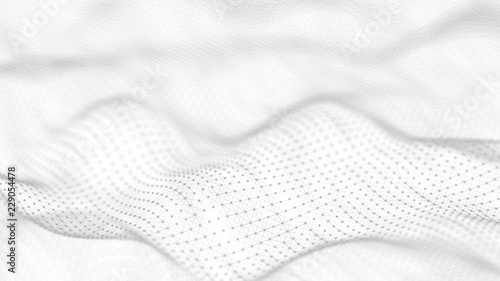 Photo sur Aluminium Fumee Abstract white futuristic background. Wave white background. connecting dots and lines on white background. 4k rendering.