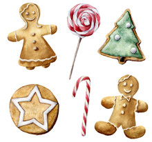 Watercolor Christmas Pastry Set. Hand Painted Candy Cane, Peppermint Lollipop, Cookies With Christmas Tree And White Star Isolated On White Background. Holiday Symbols. Seasonal Trendy Illustration.