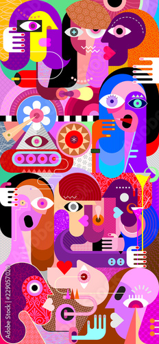 Poster Abstractie Art Large group of people vector artwork
