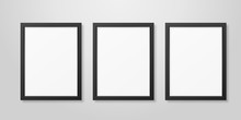 Three Vector Realistic Modern Interior Black Blank Vertical A4 Wooden Poster Picture Frame Set Closeup On White Wall Mock-up. Empty Poster Frames Design Template For Mockup, Presentation