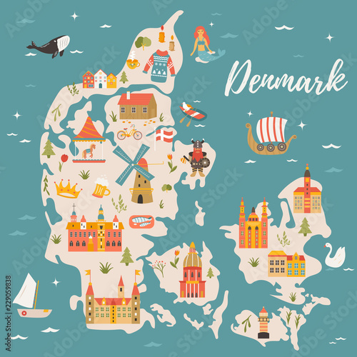 Cuadros en Lienzo Illustrated map of Kingdom of Denmark,