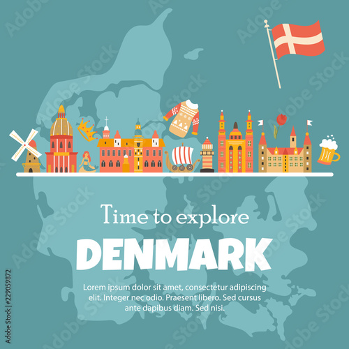 Banner with danish symbols, famous places фототапет