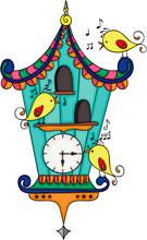 Wood Cuckoo Clock With Yellow Birds
