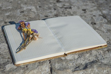 Yellow And Violet Flowers Lie On A Notebook With Clean Pages That Is On The Stone Surfaces