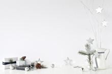 Christmas Wall Mock-up. Scandi...