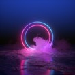 canvas print picture - 3d render, abstract background, round portal, pink blue neon lights, virtual reality, circles, energy source, glowing rings, blank space, frame, ultraviolet spectrum, laser show, smoke, fog, ground