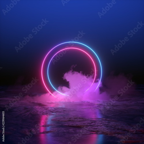 3d Render Abstract Background Round Portal Pink Blue Neon