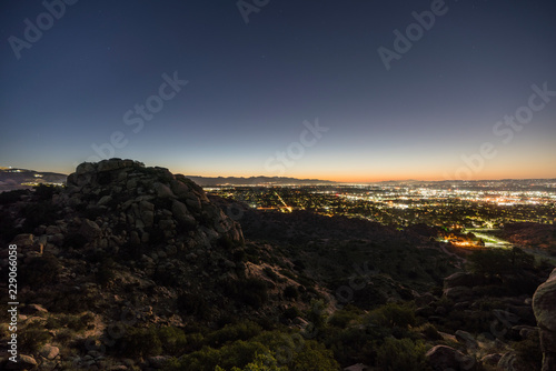 Los Angeles California predawn rocky hilltop view of the San