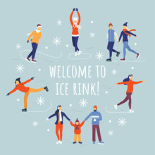 People Ice Skating Vector Illu...