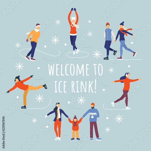 Fotografie, Obraz People ice skating vector illustration