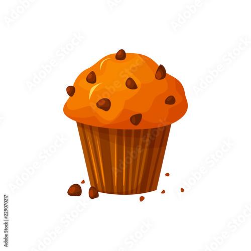 Obraz na plátně Vector cartoon style illustration of sweet cupcake