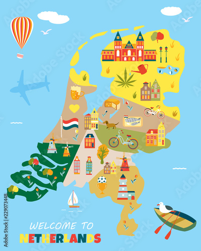 Bright poster with different landmarks of Netherlands Wallpaper Mural