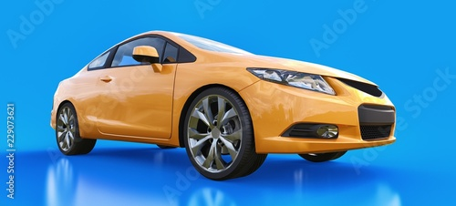 Foto op Canvas Cartoon cars Orange small sports car coupe. 3d rendering.