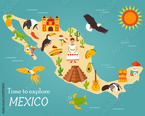 Fotografie, Tablou  Map of Mexico with destinations, animals, landmarks