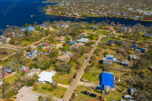 Photo Hurricane Michael 2018 aftermath Panama City Mexico Beach aerial photo