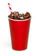 canvas print picture - Cola with ice and straw in blank red take away paper cup isolated on white background with clipping path