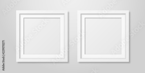 Fotografía  Two Vector Realistic Modern Interior White Blank Square Wooden Poster Picture Frame Mock-up Set Closeup on White Wall