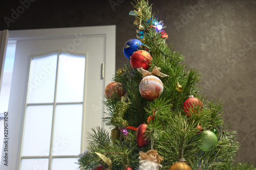 Christmas Decoration Indoors.Close Up Christmas Tree Decoration Indoors Christmas Tree