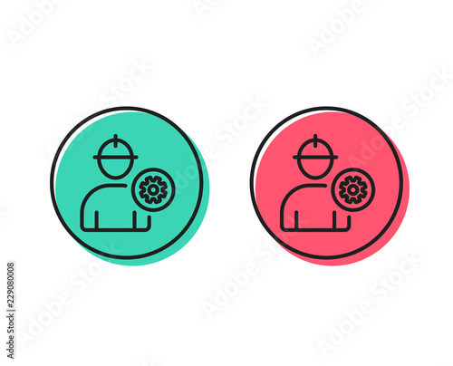 Worker Line Icon Engineer Profile With Cogwheel Sign Male Person