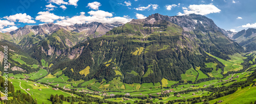 Keuken foto achterwand Khaki Aerial view of Elm village and Swiss mountains - Piz Segnas, Piz Sardona, Laaxer Stockli from Ampachli, Glarus, Switzerland, Europe