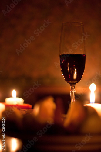 Romantic evening with red wine & candles.