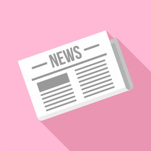 Newspaper Icon. Flat Illustration Of Newspaper Vector Icon For Web Design
