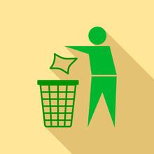 Drop Garbage In Bin Icon. Flat...