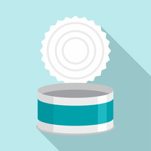 Open Tin Can Icon. Flat Illust...