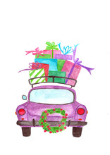 Watercolor Car With Gifts