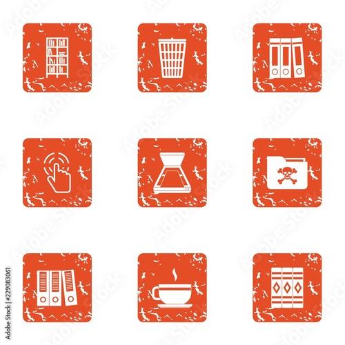 Compromising material icons set Tableau sur Toile