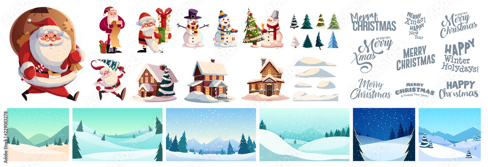 Fototapety, obrazy: Christmas kit for creating postcards or posters. Included snow-covered houses, Santa Clauses, snowmen, Christmas trees, various snow drifts, lettering for headlines and backgrounds