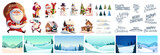 Fototapeta Fototapety na ścianę do pokoju dziecięcego - Christmas kit for creating postcards or posters. Included snow-covered houses, Santa Clauses, snowmen, Christmas trees, various snow drifts, lettering for headlines and backgrounds