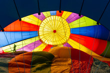 Hot Air Balloon Inflation. Colorful Look At The Inside Of A Hot Air Balloon Being Inflated Before A Flight In The Methow Valley Of Eastern Washington State.