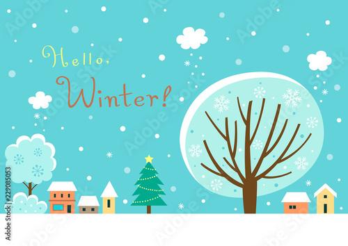 Spoed Foto op Canvas Turkoois Winter village landscape with winter tree.