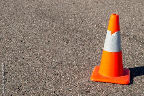 Fotografie, Obraz  Orange safety cone on asphalt