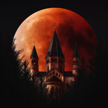 Blood Moon And Mainzer Doom, Mainz, Germany. Full Lunar Eclipse In The Night Sky, Fantasy Image Manipulation.
